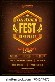 Oktoberfest beer festival celebration. Typography poster or flyer template for beer party. Vintage beer label on the brown wooden textured background