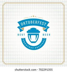 Oktoberfest beer festival celebration vintage greeting card or poster and checkered background vector illustration.