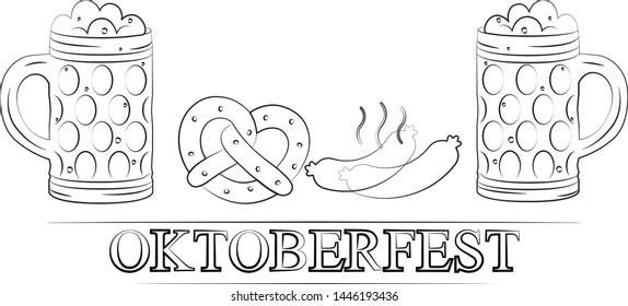 Oktoberfest. Beer festival. A German celebration of beer and brewing. A set of foamy beer steins. Bavarian sausages and pretzels. Bavarian pretzel with salt.