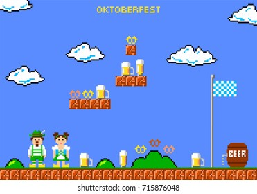 Oktoberfest beer festival greeting card. Man and woman in traditional bavarian costume in style of eight-bit game. Inscription Oktoberfest.  Vector illustration
