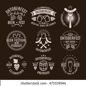 Oktoberfest beer festival lettering typography set celebration retro typographic design templates labels, badges and logos. Vector Illustration.