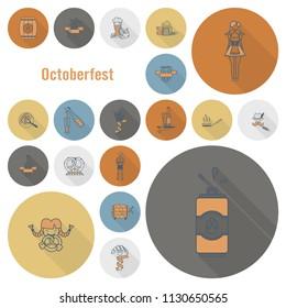 Oktoberfest Beer Festival. Long Shadow. Flat design style. Vector