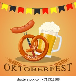 Oktoberfest beer festival, beer mug glass with foam filled to the brim,octoberfest pubs. Vector illustration in flat style