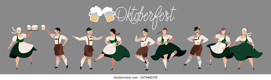 Oktoberfest beer festival. People drinking beer, dancing, celebrating. German Traditional holiday. Set of people characters. Octoberfest concept. National German men and women costumes. Modern vector.