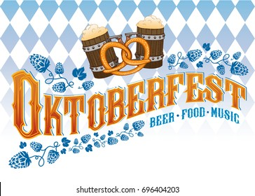 Oktoberfest beer music food poster. Vector hand crafted illustration with hops, beer mugs, pretzel and traditional Oktoberfest rhombus pattern on background.