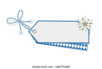 Oktoberfest blank card with diamond pattern, Edelweiss and ribbon bow, Vector illustration isolated on white background