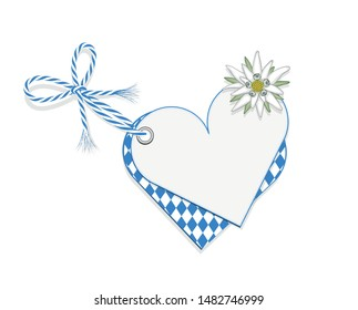 Oktoberfest blank heart card with rhombus pattern, Edelweiss and ribbon bow, Vector illustration isolated on white background