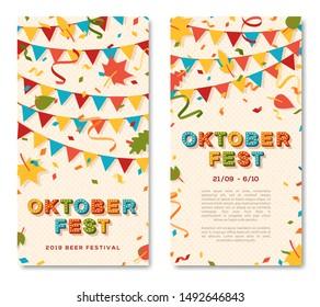 Oktoberfest brochure vector template. Autumn season event, traditional german funfair invitation, flyer layout. Annual beer fair. Festive garland and confetti flat illustration with text space