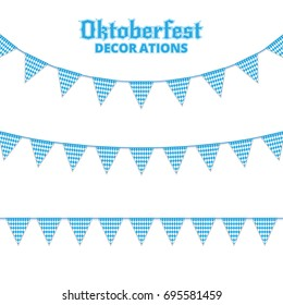 Oktoberfest buntings. Decorations for Oktoberfest. Garland buntings of Bavarian checkered blue flag