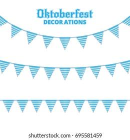 Oktoberfest buntings. Decorations for Oktoberfest. Garland buntings of Bavarian checkered blue flag