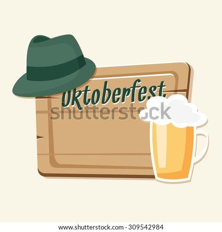 Oktoberfest Card Invitation Beer Green Hat Stock Vector (Royalty ... eb7ce530c32