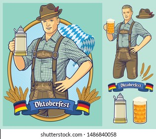 Oktoberfest cartoon character design for poster, invitation, or design element