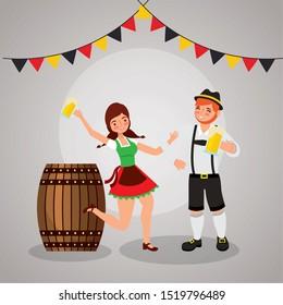 Oktoberfest celebration illustration, beer festival design with couple dancing, vector illustration