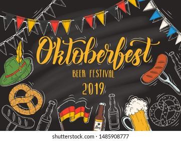 Oktoberfest celebration poster with hand drawn doodle and colored glass of beer, hat, flag garland, pretzel, sausage, flag on blackboard. Hand made lettering. Sketch. Oktoberfest design