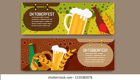 Oktoberfest celebration traditional decoration banner background. Bavarian glass beer illustration vector carnival invitation card. German festival party template concept.