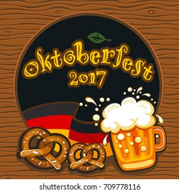 Oktoberfest celebration vector poster with lettering. German festival mug of beer, Bavarian flag, salty pretzels, traditional snacks and drinks. Round festive Banners, Headers, frames, and menu offers