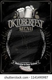 Oktoberfest chalkboard menu, copy space for text,hand drawn vector illustration