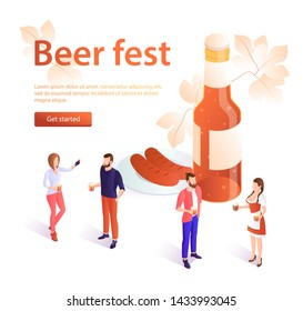 Oktoberfest concept banner in isometric style. Banner beer fest, beer festival poster. A young girl in traditional dress carries beer. Oktoberfest celebration, men and women holding beer mugs. For adv