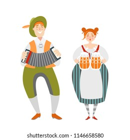 Oktoberfest couple of funny cartoon characters  in Bavarian costumes. A man with an accordion and a girl with mugs of beer on a white background.