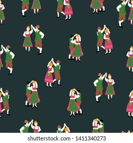 Oktoberfest dancing couple drawing seamless vector pattern. Bavarian traditional dance illustration