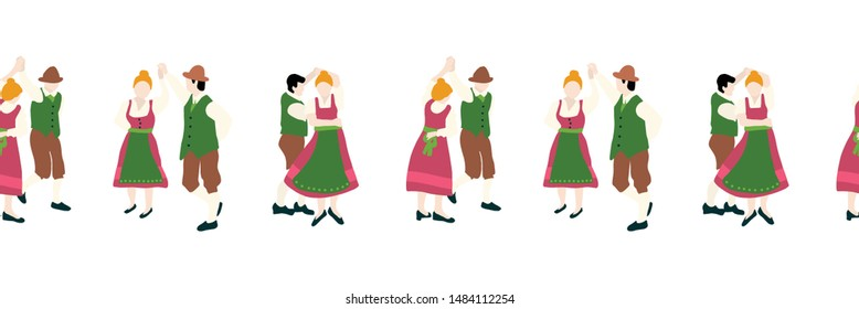 Oktoberfest dancing couple seamless border. Vector illustration. Beer festival party repeating banner. Men and women in traditional Oktoberfest Lederhosen and Dirndl wear. Folk dance
