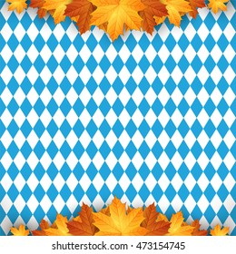 Oktoberfest design autumn. Oktoberfest blue background. Autumn background with leaves.