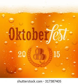 Oktoberfest design template,  light beer texture with bubbles and logo. Beer festival background