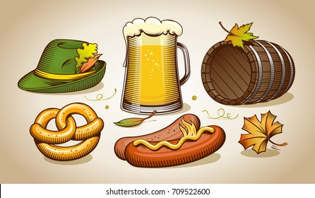 Oktoberfest elements, symbols and icons vector collection