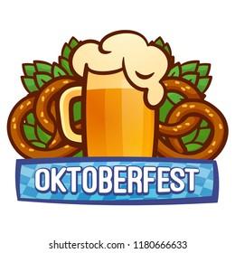 Oktoberfest festival logo. Cartoon of oktoberfest festival vector logo for web design isolated on white background