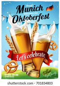 Oktoberfest festival poster, splashing beer with pretzel and wheats isolated on blue sky in 3d illustration, Oktoberfest means Beer festival in German