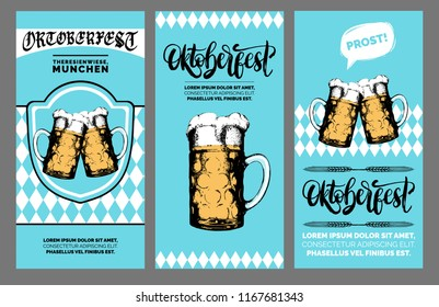 Oktoberfest flyer. Beer festival poster with vector handwritten font. Brewery label or badge with drawn glass mugs.