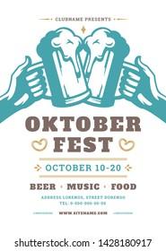 Oktoberfest flyer or poster retro typography vector template design willkommen zum invitation beer festival celebration. Two hands holding beer silhouette.