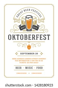 Oktoberfest flyer or poster retro typography vector template design willkommen zum invitation beer festival celebration. Beer mugs with ornaments silhouettes.