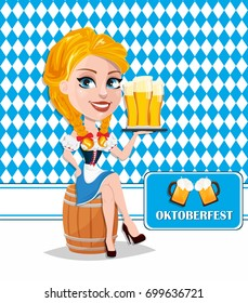 Oktoberfest flyer with sexy redhead girl sitting on barrel and holding beer. Vector illustration on traditional background. Cartoon character. Can be used for poster, invitation, banner.
