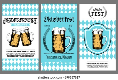 Oktoberfest flyer. Vector beer festival poster. Brewery label or badge with vintage hand sketched glass mug.