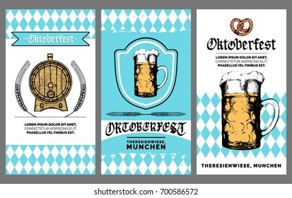 Oktoberfest flyer. Vector beer festival poster. Brewery label or badge with vintage hand sketched glass mug and barrel.