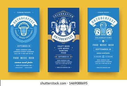 Oktoberfest flyers or banners set vintage typographic design templates vector illustration. Oktoberfest invitations beer festival celebration with symbols and decoration.
