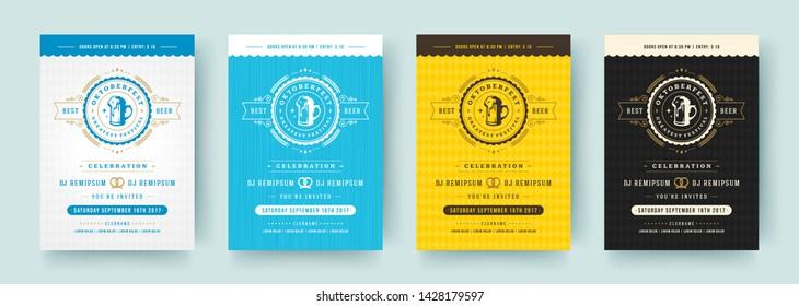 Oktoberfest flyers or posters retro typography vector templates design willkommen zum invitations beer festival celebration. Beer silhouette.