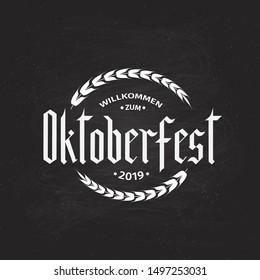 Oktoberfest fraktur font gothic lettering on chalkboard bacground. Traditional Bavarian beer festival. Easy to edit vector template for your logo design, menu, poster, banner, flyer, invitation, etc.