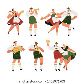 Oktoberfest. Funny cartoon characters in Bavarian folk costumes of Bavaria celebrate and have fun at Oktoberfest beer festival. Party Concept Flat Vector Illustration.