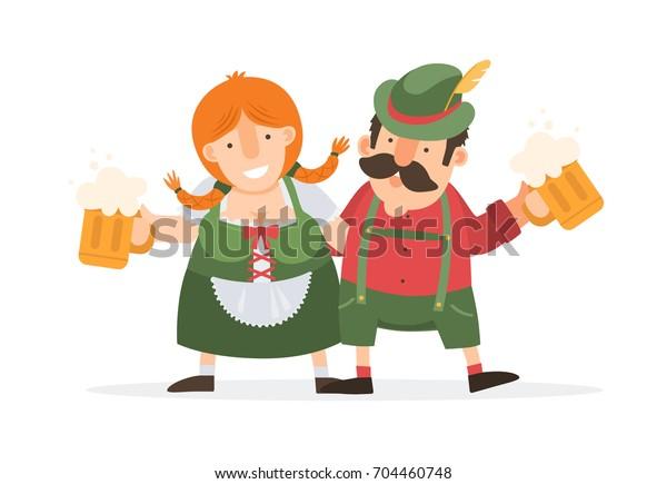 Oktoberfest Funny Cartoon Man Women Traditional Stock Vector Royalty Free 704460748