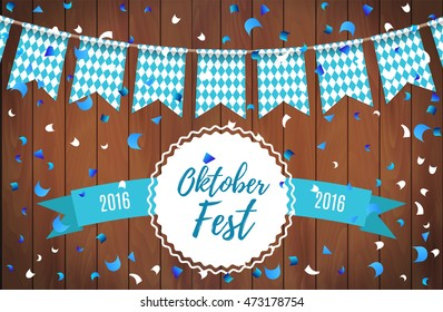 Oktoberfest garlands having blue-white checkered pattern and text Oktoberfest lettering with ribbon on a wooden background. Oktoberfest background celebrate with beautiful realistic garland. Vector