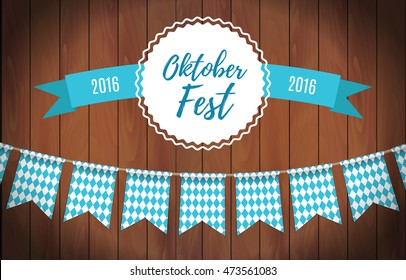 Oktoberfest garlands having blue-white checkered pattern and lettering Oktoberfest with ribbon on a wooden background. Bavarian beer fest background celebrate with beautiful realistic garland. Vector