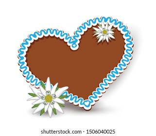Oktoberfest gingerbread heart with Edelweiss, Blank heart of gingerbread, Vector illustration isolated on white background
