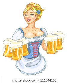 Oktoberfest girl with beer, woman with glasses of beer isolated