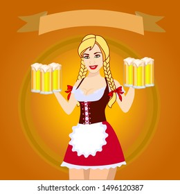 Oktoberfest girl holds beer glases. Waitress in bavarian dirndl. Top banner ribbon. Young pretty blonde with brown eyes smiling. Vector illustration of cartoon character.