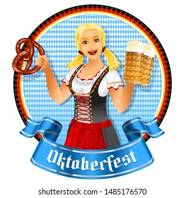 Oktoberfest girl holds beer glass and pretzel. Waitress in bavarian dirndl. Banner ribbon with title Oktoberfest. Young pretty blonde with blue eyes smiling. Vector illustration of cartoon character.