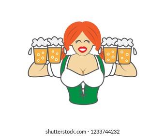 Oktoberfest girl on white background