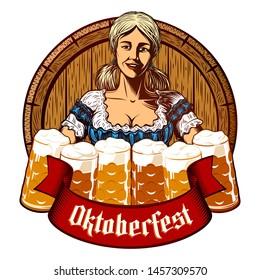 Oktoberfest girl waitress holding glass beer mugs in bavarian dirndl. Wooden cask on background. Ribbon with title Oktoberfest. Vector vintage graphic illustration in retro engraving ink print style.