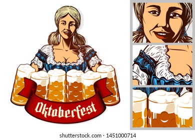 Oktoberfest girl waitress holding mugs of beer in traditional bavarian dirndl. Isolated emblem. Ribbon with title Oktoberfest. Vector vintage graphic illustration in retro engraving inked print style